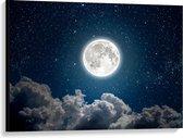 Canvas  - Felle Maan boven Wolken - 100x75cm Foto op Canvas Schilderij (Wanddecoratie op Canvas)