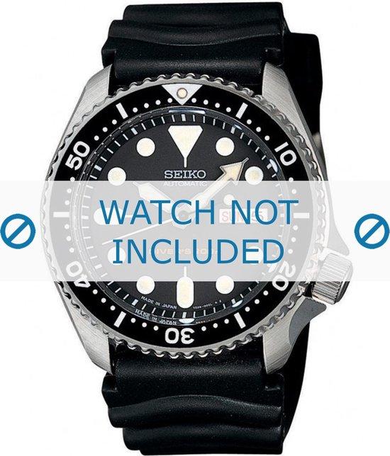 Horlogeband Seiko 7S26-0020 / SKX007K1 / 4FY8JZ / 4D41JZ Rubber Zwart 22mm - Seiko