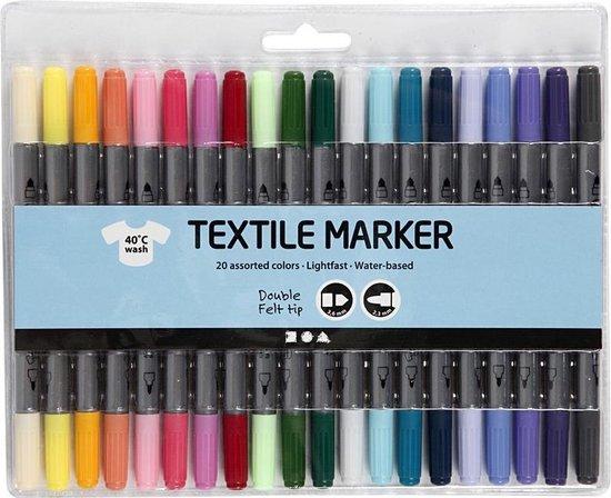 Afbeelding van 20x Gekleurde textielstiften op waterbasis - Stof/textiel pennen met dubbele punt in diverse kleuren