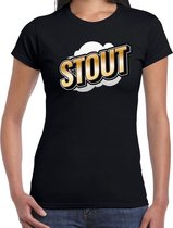 Fout Stout t-shirt in 3D effect zwart voor dames - fout fun tekst shirt / outfit - popart M