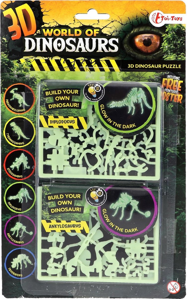 Toi-toys 3d-puzzel Glow-in-the-dark Diplodocus & Ankylosaurus