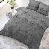 Sleeptime Goodnight My Love - Dekbedovertrekset - Eenpersoons - 140x200/220 + 1 kussenslop 60x70 - Grijs