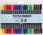 Textielstiftenset met 20 kleuren
