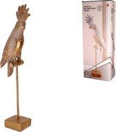 Gouden Kaketoe op standaard 47cm hoog – Beeld – Woondecoratie – Cockatoo – 17×9.x47cm