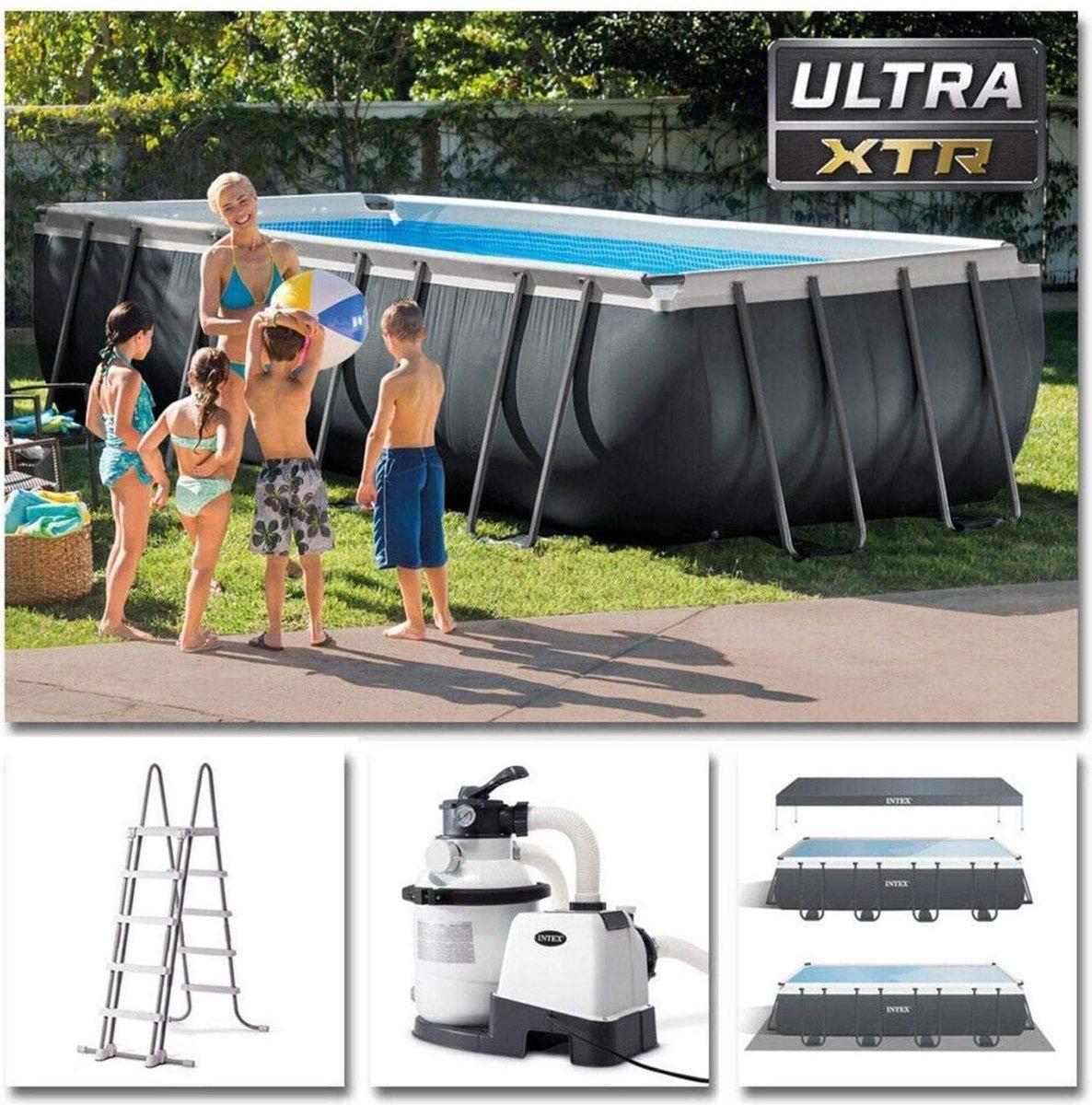 Intex Ultra XTR Rechthoekig Frame Pool 549x274x132 cm PLUG AND PLAY + Zandfilterpomp / Ladder / Afdekzeil / Onderzeil / DIRECT UIT VOORRAAD LEVERBAAR!