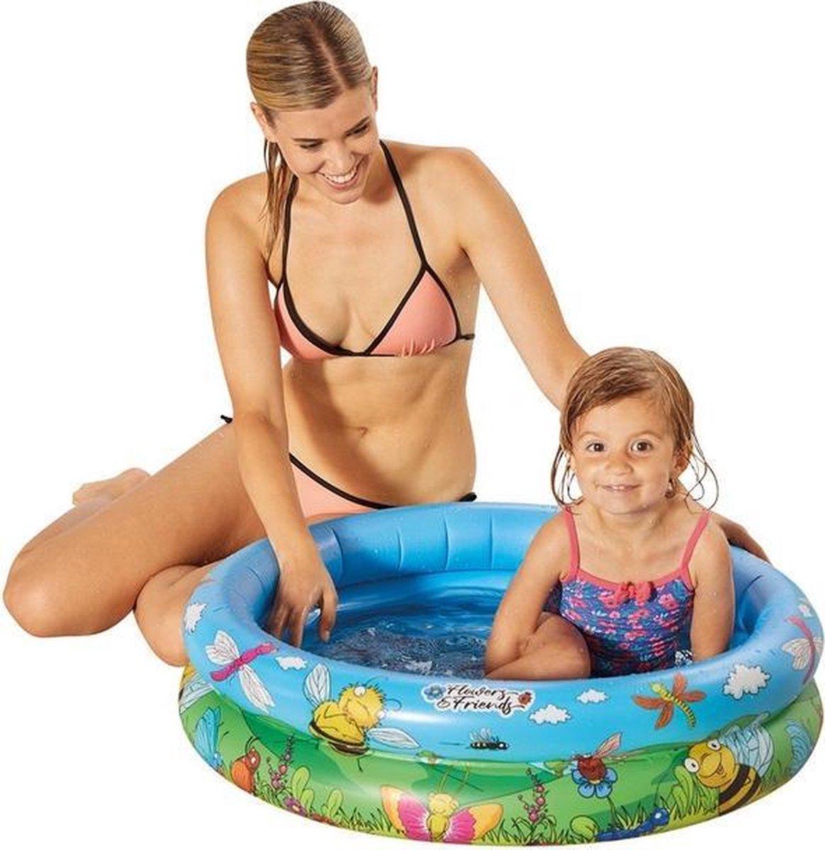 Blauw/bloemen opblaasbaar zwembad baby badje 74 x 18 cm speelgoed - Rond zwembadje - Babybadje - Douchecabine badje - Pierenbadje - Buitenspeelgoed voor kinderen