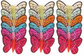 18x stuks gekleurde decoratie vlinders 5 cm op prikkers/instekers - zomer/lente feest versieringen