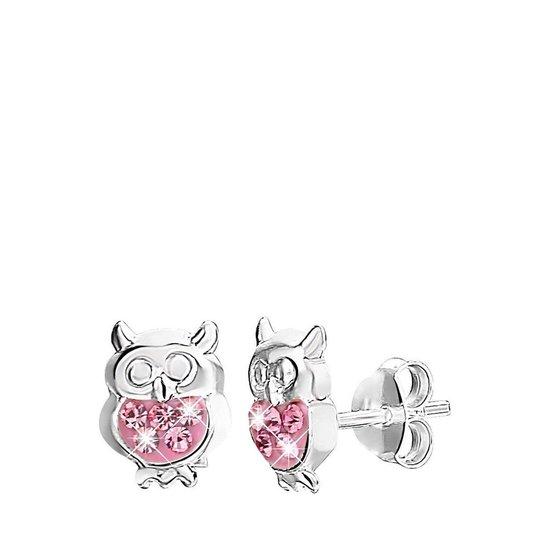 Lucardi Zilveren Kinderoorbellen - Uil Met Kristal