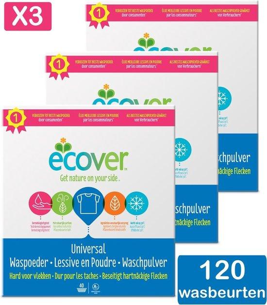 Ecover Waspoeder Universal - Voordeelverpakking 3 x 3 kg - 3 x 40 wasbeurten