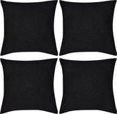 Kussenhoezen katoen 50 x 50 cm zwart 4 stuks