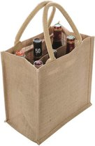 1x Jute boodschappentassen/strandtassen voor 6 flessen 29 x 27 cm naturel - Wijnflessen tas - Draagtassen met hengsels - Trendy tas