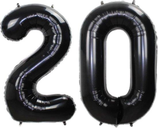 Folie Ballon Cijfer 20 Jaar Zwart 86Cm Verjaardag Folieballon Met Rietje