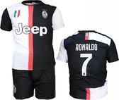 Juventus Replica Cristiano Ronaldo CR7 Thuis Tenue Voetbalshirt + Broek Set Seizoen 2019/2020 Zwart / Wit, Maat:  158