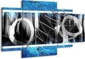Canvas schilderij Modern   Blauw, Grijs, Wit   160x90cm 4Luik