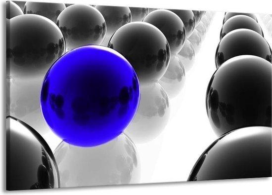 Canvas schilderij Ballen   Zwart, Wit, Blauw   140x90cm 1Luik