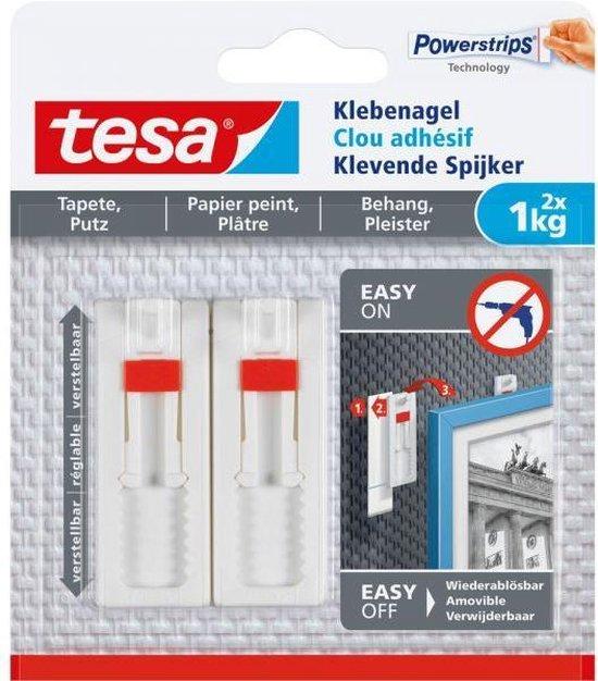 Tesa - 77774 - verstelbare klevende spijker voor behang en pleisterwerk - tot 1kg - 2 stuks
