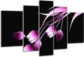 Glasschilderij Tulp | Zwart, Paars, Wit | 170x100cm 5Luik | Foto print op Glas |  F004138