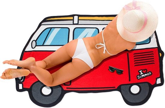 Rode camper strandlaken grote badhanddoek