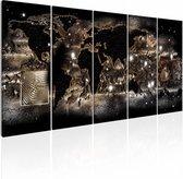 Schilderij - Verlichte Wereld - Wereldkaart , zwart , beige , 5 luik