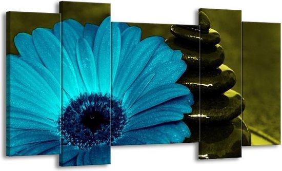 Canvas schilderij Bloem   Blauw, Zwart, Groen   120x65 5Luik