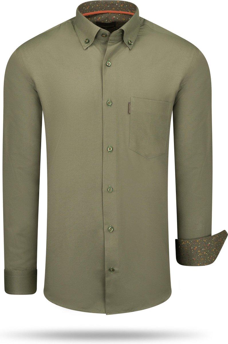 Cappuccino - Heren Overhemd - Borstzakje - Army