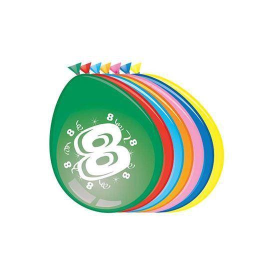 Ballonnen 30cm 8 Jaar (8 stuks)