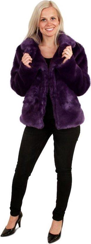| Korte paarse bontjas maat 36 38 S M fake fur