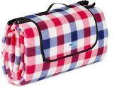 relaxdays Picknickkleed - 200x200 - picknickdeken - rood-blauw geruit - waterdicht