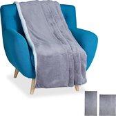 relaxdays plaid - groot - woondeken - grijs - deken - bankkleed - fleece deken - nep bont Grijs, 220x240cm