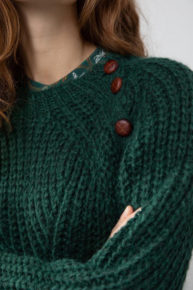 Sissy-Boy - Groene grofgebreide trui met knopen