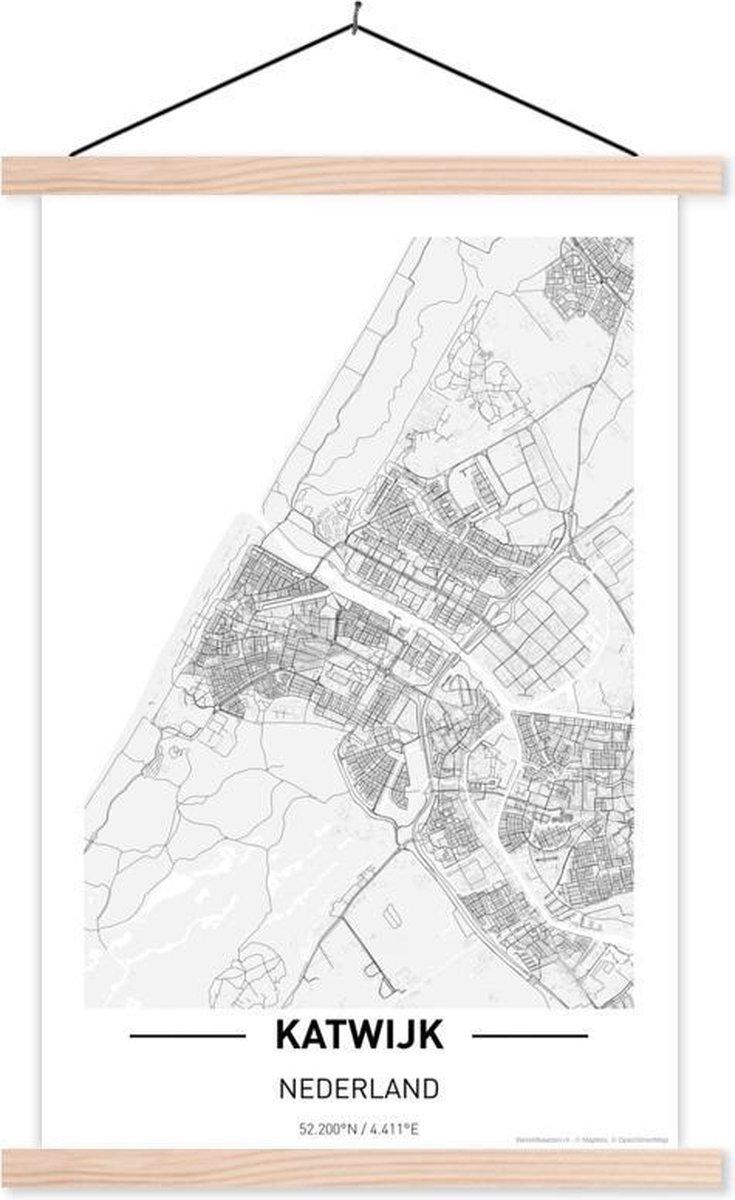 Stadskaart Katwijk textielposter latten blank - Plattegrond 120x180 cm - Foto print op schoolplaat (wanddecoratie woonkamer/slaapkamer) XXL / Groot formaat!