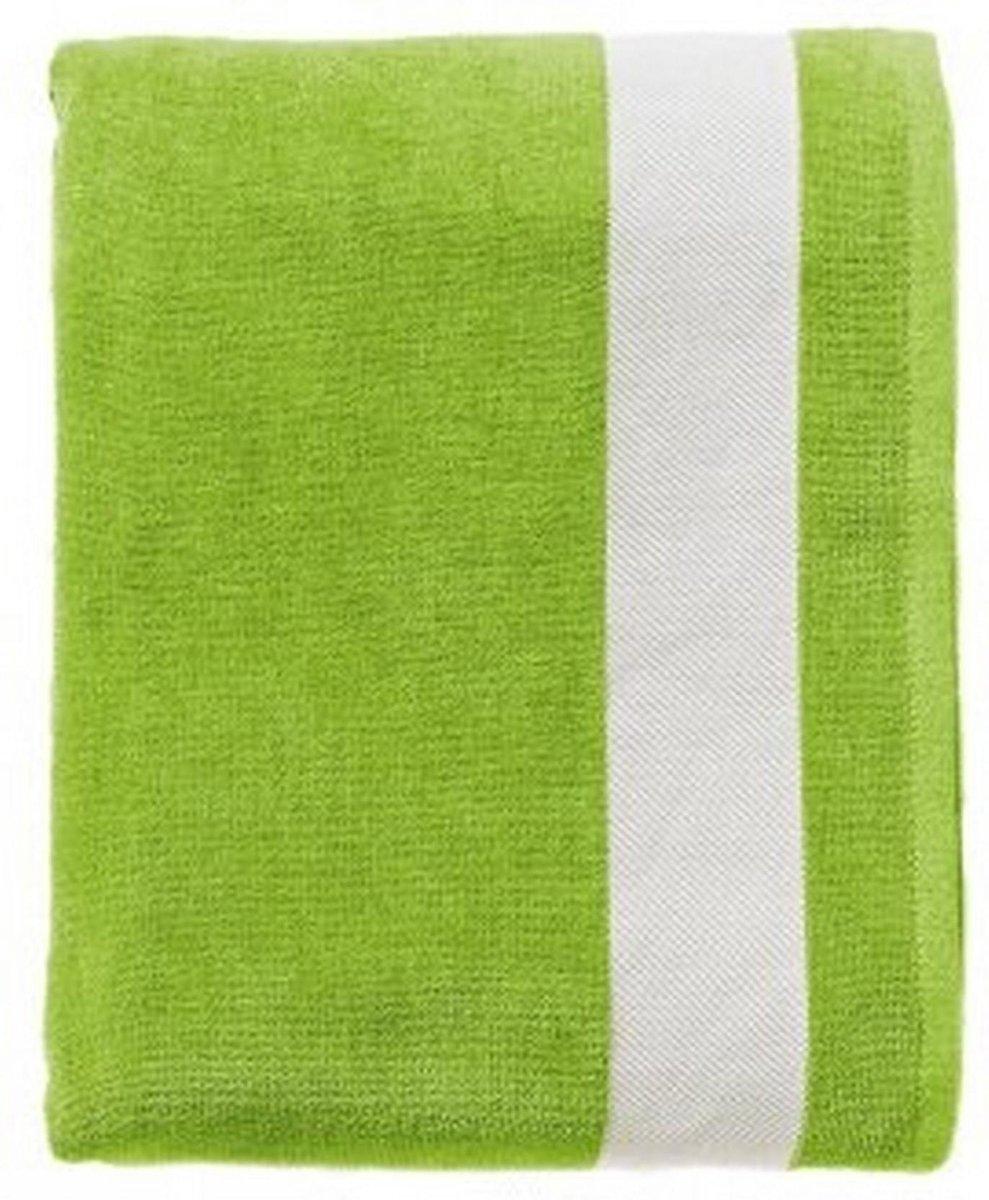 SOLS Lagune Katoenen Strandlaken (Kalk groen/wit)