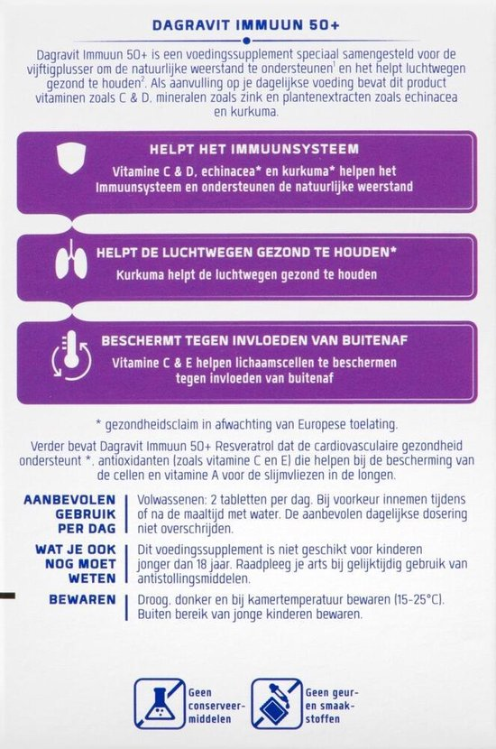 Dagravit Immuun 50+ Voedingssupplement - 100 tabletten