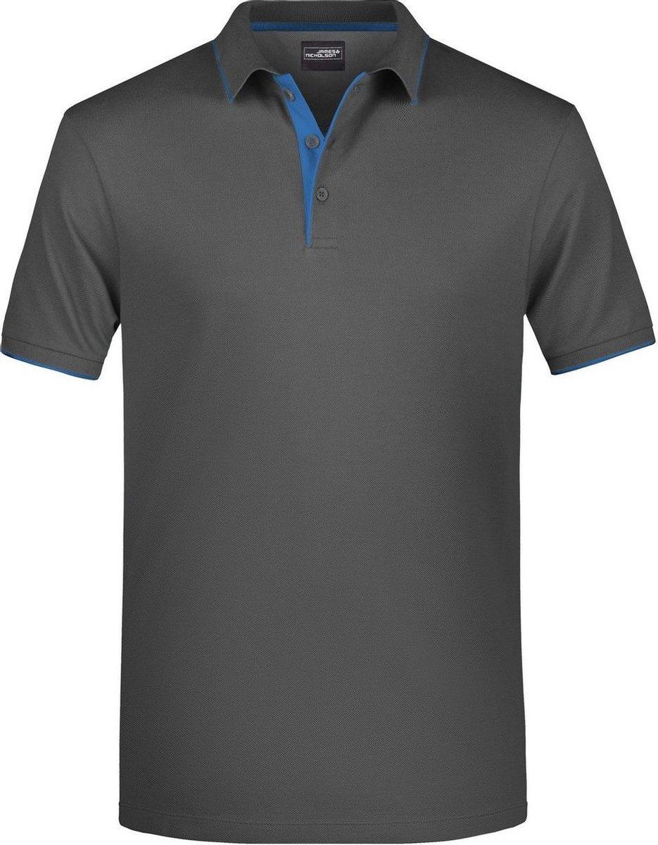 James and Nicholson Heren Polo Stripe Shirt (Grafiet/Aqua)