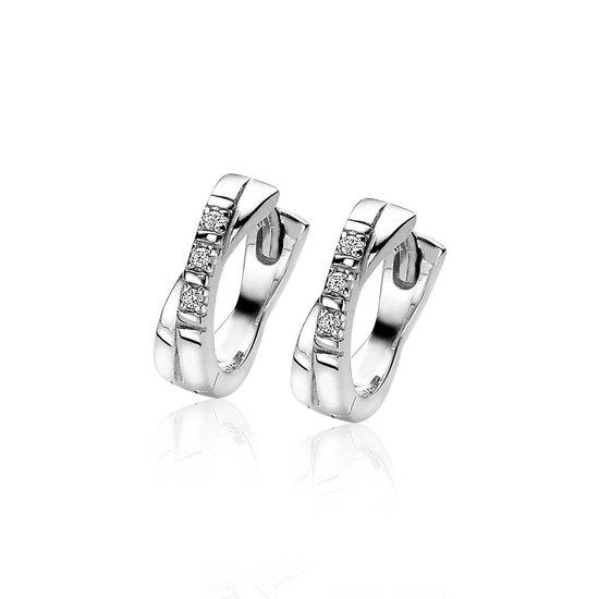 ZINZI zilveren oorringen 12x3mm kruislings wit ZIO2039