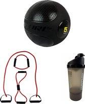 Tunturi - Fitness Set - Slam ball 5 kg - Weerstandband Zwaar - Shakebeker