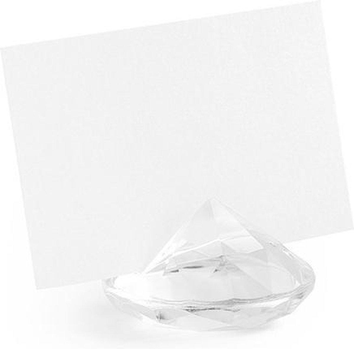 100x Kaarthouders standaards transparante diamanten 4 cm - Plaatsnaamhouders tafelschikking - Bruiloft/huwelijk versiering