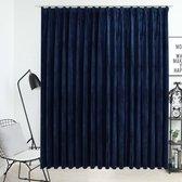 Gordijn verduisterend met haken 290x245 cm fluweel blauw