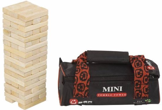 Afbeelding van het spel Stapeltoren spel, ECO Indiaas  hout, in stevige tas Top Kwaliteit Klasse en Geweldig