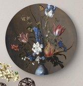 HIP ORGNL Bloemen in een Wan-Li vaas en schelpen| rond schilderij | ronde oude meester | ⌀  40 cm | wanddecoratie