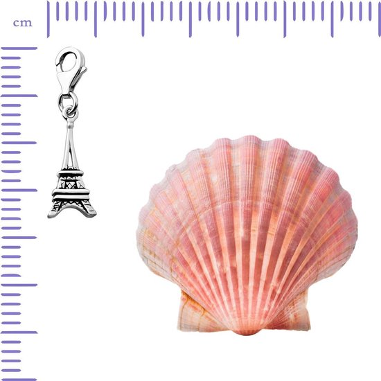 Quiges - Charm Bedel Hanger Eiffeltoren - Dames - zilverkleurig - QHC027 - Quiges