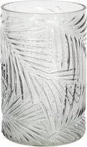 Vaas | Ø 12*18 cm | Groen | Glas | Rond | Blaadjes | Clayre & Eef | 6GL2526