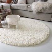 Hoogpolig rond vloerkleed shaggy Royal 5cm hoogte - crème 80 cm rond