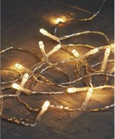 Kerstverlichting op batterijen warm wit 10 lampjes 100 cm/1 meter - Warm witte mini verlichting - Kerstlampjes/kerstlichtjes op batterij