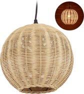 relaxdays rotan hanglamp - plafondlamp - bamboe lamp - eettafel lamp - E27 - verstelbaar
