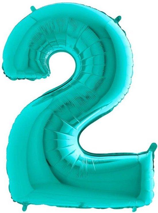 Folieballon Cijfer 2 Turquoise - 100 Centimeter