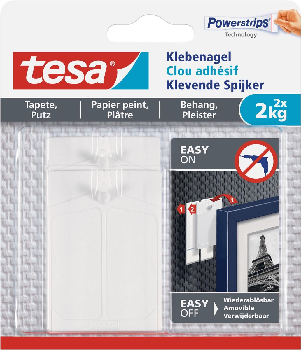 Tesa Klevende Spijker Gevoelige Oppervlakken 2KG - 2 stuks