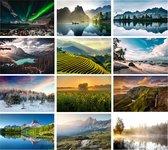 Cadeautip! | Luxe ansichtkaarten set Natuur 10x15 cm | 24 stuks | Wenskaarten Natuur
