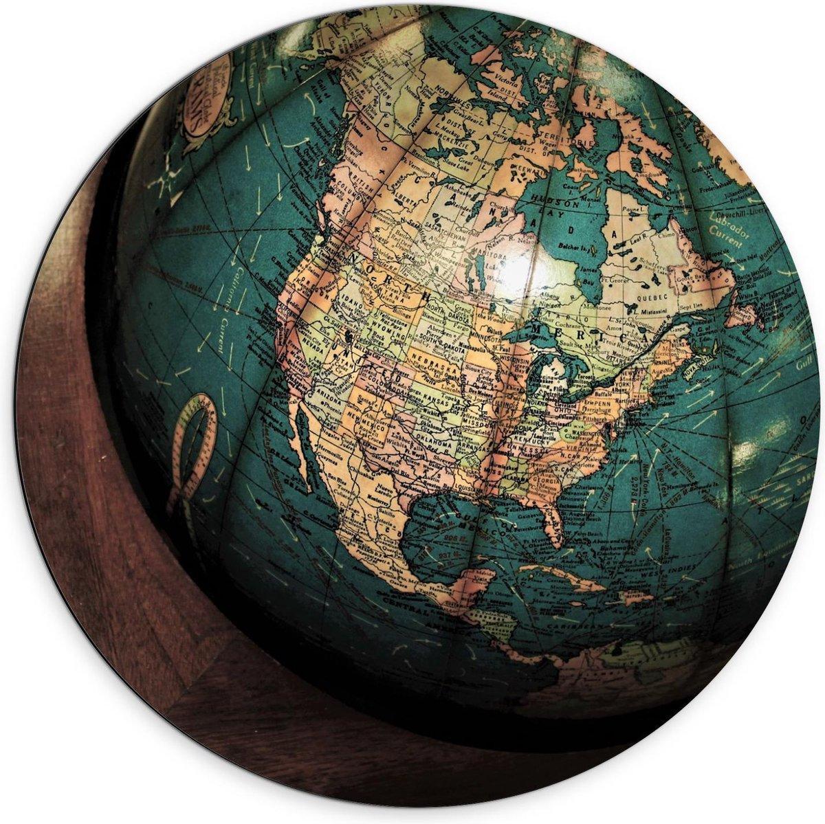 Dibond Wandcirkel - Wereldbol met Ring - 70x70cm Foto op Aluminium Wandcirkel (met ophangsysteem)