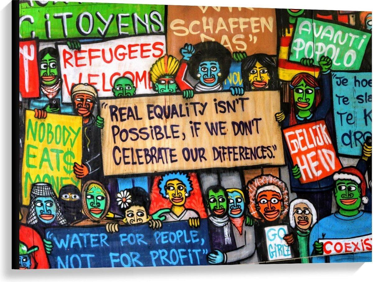 Canvas  - Gelijkheid Muurschildering - 100x75cm Foto op Canvas Schilderij (Wanddecoratie op Canvas)